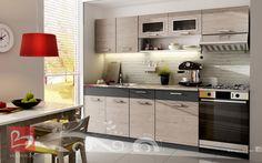 Κουζίνα Carissa γκρι + σκούρο καφέ