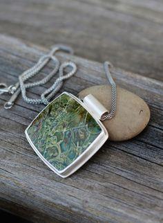 LABOR DAY SALE Green Jasper Sterling Silver Pendant by LvoffStudio