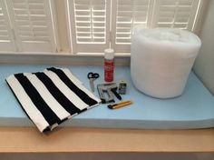 No-sew bay window seat cushion. I'm wondering if this is something I can do. I don't think we'll be able to find anything to fit our seat, but with some foam and fabric, maybe I can make one!