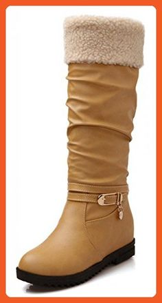 Women's Trendy Round Toe Pendant Knee High Increased Within Boots