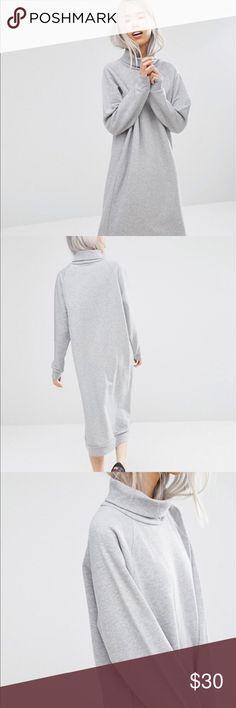Monki oversized sweat dress 56% cotton 44% polyester, grey sweatshirt dress. MONKI brand, purchased from ASOS. ASOS Dresses Midi