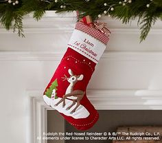 Baby's 1st Christmas Rudolph the Red-Nosed Reindeer® Quilted Stocking #pbkids