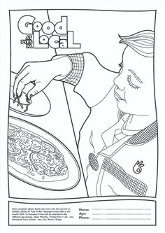 Custom colouring pages created for restaurant 'Good Local' New Zealand. For enquiries please contact artist Zoe Sizemore at Case In Point Design Studio.