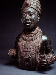 Detailed sculpture dating to the ancient Nok culture. The Nok culture existed over 2,000 years ago in the land that would later be called Nigeria. This culture was known for magnificent terracotta sculptures and the development of iron working.