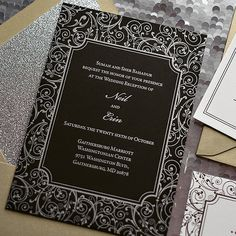 KELLY Suite Glitter Package, black and silver wedding invitation, silver and gold wedding invitation, metallic wedding invitations, letterpress wedding invitations, traditional wedding invitations, ornate wedding invitations, glitter wedding invitations