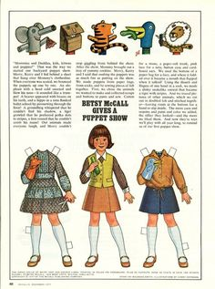 Vintage December 1977 Magazine Paper Doll Betsy McCall Gives a Puppet Show