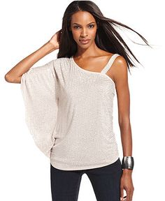 INC International Concepts Top, Batwing-Sleeve One-Shoulder Studded - Womens Tops - Macy's