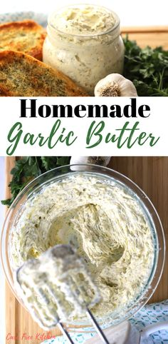 This is the most amazing garlic butter! This delicious and creamy garlic butter is perfect when making garlic bread, sautéing vegetables or to give your steak a burst of flavor! Garlic Butter Spread, Homemade Garlic Butter, Garlic Herb Butter, Garlic Butter Sauce, Steak Butter, Garlic Spread Recipe Easy, Butter For Steaks, Garlic Bread Seasoning Recipe, Sauces