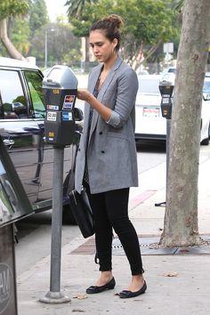 jessica alba long blazer style