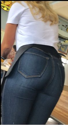sexy ashley showing off her ass in tight jean shorts