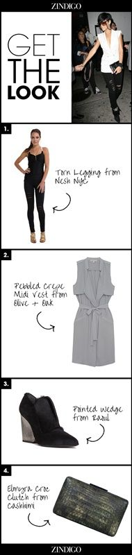 Get the look:  1. Torn legging from Nesh NYC 2. Pebbled Crepe Midi Vest from Olive + Oak 3. Pointed wedge fro Raoul 4. Elmyra croc clutch from Cashhimi