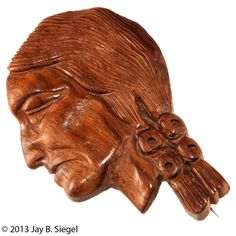 Native American Indian Wood Carvings | Wooden Native American Indian Head Carved Brooch Pin from chicantiques ...