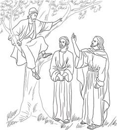 Jesus Meets Zacchaeus coloring page from Jesus Mission Period category. Select from 24342 printable crafts of cartoons, nature, animals, Bible and many more.
