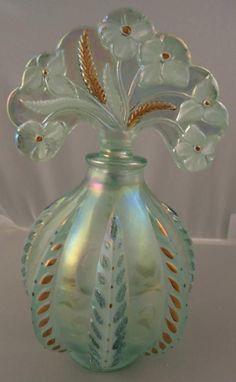Vintage Fenton Handpainted Willow Green Feather Perfume Bottle Owens Flowers