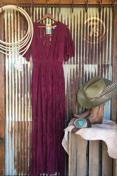 The Wynonna - Elegant modern vintage cranberry embroidered sheer dress. Intricate embroidered detail throughout. Deep v-neck. Lined front and romper bottoms. Sheer short sleeves. Cowgirl style. Rodeo fashion. Women's Western Wear. Ranch style. Boho Cowgirl.  https://savannahsevens.com/collections/dresses/products/the-wynonna