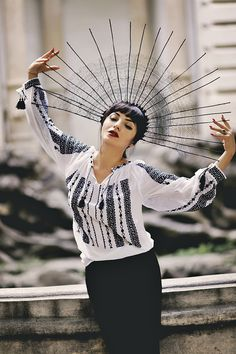 Romanian blouse and dramatic fan-hat