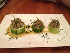 Quinoa and Pecan Tabbouleh,  Compressed Cucumber, Vadouvan and Golden Raisin