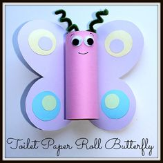 Spring Craft for kids: Toilet Paper Roll Butterfly from Homeschooling Mom 4 Two