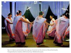A dance presentation by a group of women at the shrine of Khunthok-hanbi, Thangmeiband, Imphal, 2008 (Courtesy: ©Rekha Konsam).