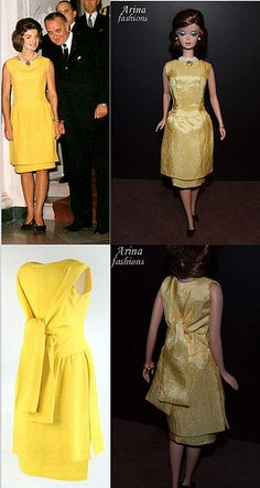Silkstone Barbie doll in Arina's fashion creations. Jacqueline Kennedy's yellow tunic and skirt