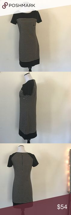 SHELLI SEGAL TAN & BLACK STRIPED DRESS, SIZE 6 Adorable Laundry by Shelli SEGAL dress.  The stripes are black and a light tan/taupe color.  EUC.  Size 6.  Please let me know if you have any questions! Laundry By Shelli Segal Dresses Midi