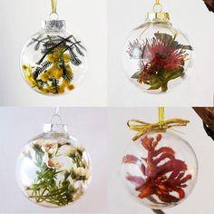 Set of 4 Australian Native Flowers Christmas Baubles