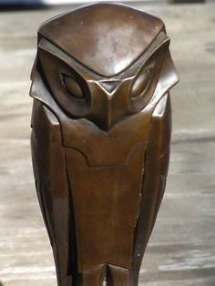 Beautiful Large Abstract Pure Hotcast Bronze Owl Statue
