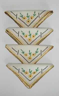 Vintage 1960s Cocktail Napkins-Hand Embroidered-Linen-Set of 4-Unused.