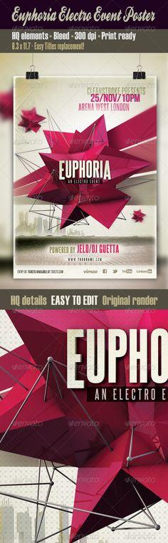 Print Templates - Euphoria Electro Event Poster | GraphicRiver
