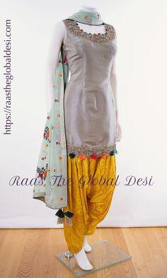 Raas The Global Desi is Indian clothing online USA wedding saree, bridal sarees, lehengas online, anarkalis, chaniya choli online USA. Patiala Dress, Patiala Salwar Suits, Salwar Suits Party Wear, Patiala Pants, Anarkali Gown, Lehenga, Indian Salwar Suit, Punjabi Dress, Churidar