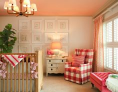 chair, color, girl nurseries, gallery walls, baby girls, shel silverstein, painted ceilings, buffalo check, girl rooms