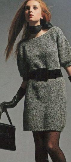 Вязание теплого платья спицами