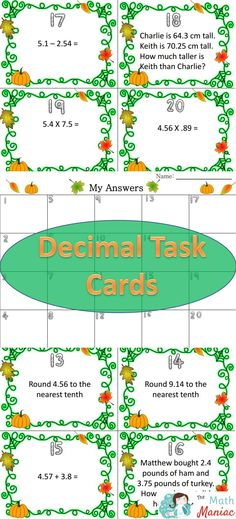 Help your students be more comfortable with decimals with these fun task cards.