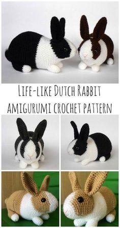 Crochet Bunny - Dutch Rabbit Amigurumi Pattern - Crochet News - Kids, Inc. - Dutch rabbit – realistic rabbit amigurumi crochet pattern You are in the right place about amiguru - Chat Crochet, Crochet Mignon, Crochet Dolls, Free Crochet, Crochet Rabbit Free Pattern, Crochet Bags, Doilies Crochet, Crochet Afghans, Crochet Flowers