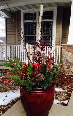 Copper Pots With Mixed Evergreens Painted Birch And Golden. Outdoor  Christmas Planter