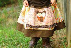 Apron Twirl Skirt Sleepy Owl Fall 2010 by LYIS on Etsy