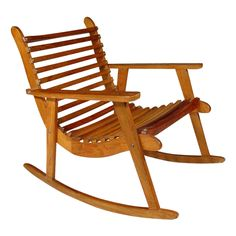 Mid-Century Modern Crescent-Shaped Slatted Rocking Chairs, Pair
