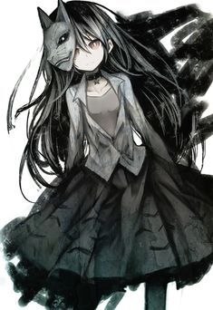 Goth Anime Girl   Pretty   Black and White   Red Eyes   Mask