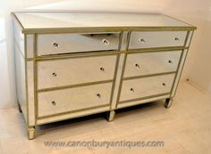Art Deco Mirrored Double Chest Drawers Commode Furniture Mirror Chest Of Drawers, Art Deco Mirror, Mirrored Furniture, Light And Space, Upcycled Furniture, Minimal Design, Contemporary Interior, Art Deco Fashion, Household Items