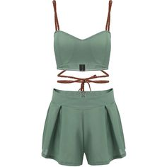 Yoins Crossed Chain Crop Top And Pleated Hem Skorts Co-ord (€13) ❤ liked on Polyvore featuring dresses, romper, outfits, tops, yoins, green, green skort, pleated skort and golf skirts