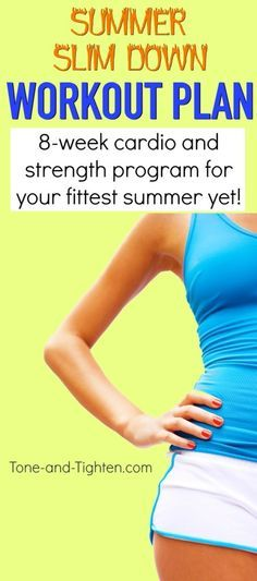 Summer Slim Down Workout series - cardio to slim down and strength to tone up! Get it from Tone-and-Tighten.com
