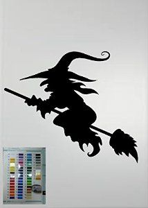 WITCH ON BROOM HALLOWEEN VINYL DECAL DECORATIONS AUTO HOME WINDOW DECAL by we use high grade oracal 651 vinyl Window Decals, Vinyl Decals, Witches Castle, Witch Silhouette, Halloween Vinyl, Bumper Stickers, Image, Vectors, Decorations