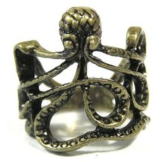 Octopus Ring Size 4 Sea Monster Squid Kraken Steampunk Antique Gold Tone Fashion Jewelry * Wonderful of you to drop by to view our picture. (This is an affiliate link) Antique Rings, Vintage Rings, Antique Gold, Steampunk Belt, Octopus Ring, Wonder Twins, Steampunk Accessories, Sea Monsters, Kraken