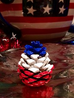 Patriotic Pine Cone Red, White, Blue Hand Picked Hand Painted Acrylic Paint, Sealed With Spray On/Paint On Wood Sealer. Can add glitter or scented with spices. Pine Cone Art, Pine Cone Crafts, Pine Cones, Patriotic Crafts, July Crafts, Holiday Crafts, Pine Cone Decorations, 4th Of July Decorations, Christmas Decorations