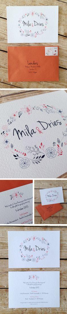 wedding invitation, flowers, black orange, love