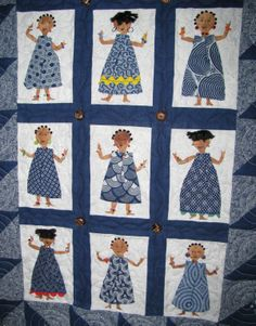 Blue Shweshwe fabric from South Africa. Dancing ladies.