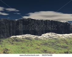 View of the plateau with a dark sky and no clouds. A bit of snow and grass on the ground. 3D Illustration, 3D rendering - stock photo