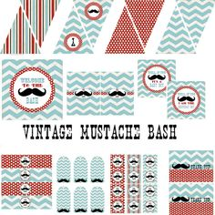 Vintage Mustache Bash Decorations for Boys Birthday Party or Baby Shower - Printable DIY Little Man Decor by BeeAndDaisy - Instant Download