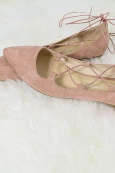 Chinese Laundry Elegant Dancer Rose Pink Suede Lace-Up Ballet Flat – Amazing Lace