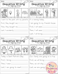 March Sequence Writing contains 30 pages of narrative prompts worksheets. Students will observe the pictures, finish the sentences in sequence and write a story. Students are encouraged to use thinking skills while improving their writing skills. These pages can be used for morning work, literacy centers, and writing center. Kindergarten   Kindergarten Worksheets   First Grade   First Grade Worksheets   Winter Sequence Writing Prompts   Spring Sequence Writing Prompts Kindergarten Writing Prompts, 2nd Grade Writing, Teaching Writing, Kindergarten Worksheets, Writing Skills, Narrative Writing, Kindergarten Goals, Teaching Skills, Opinion Writing